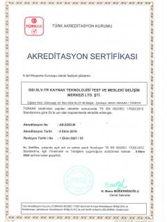 TS EN ISO-IEC 17020 Akreditasyon Sertifikası